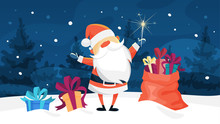 Funny Cute Santa Claus With Gift Bag