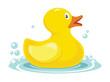rubber yellow duck. bath children toy in water