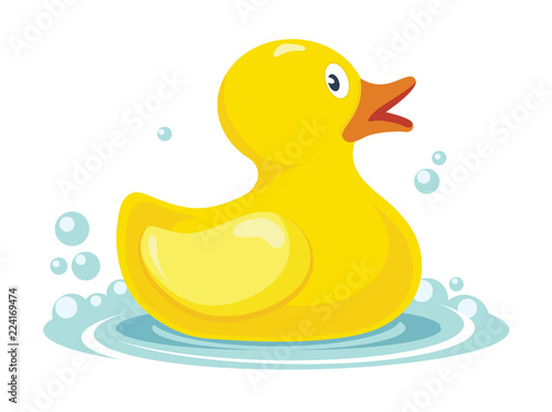 Fotografie, Obraz  rubber yellow duck. bath children toy in water