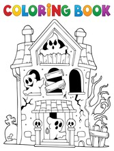 Coloring Book Haunted House Wi...