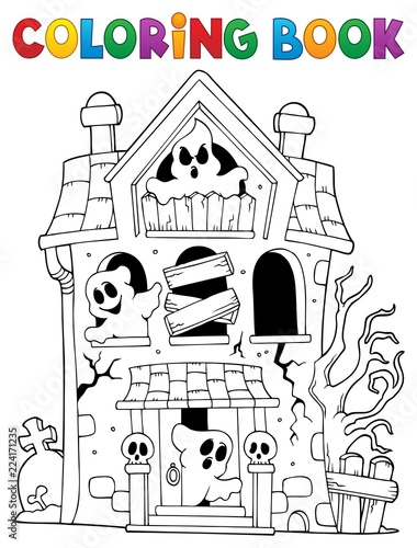 Montage in der Fensternische Für Kinder Coloring book haunted house with ghosts
