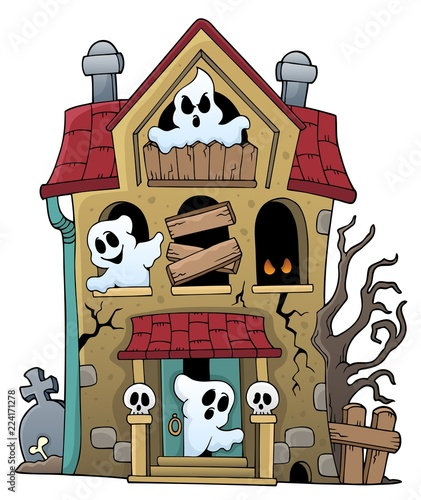 Poster Voor kinderen Haunted house with ghosts theme 1