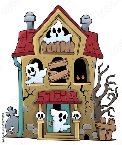 Fotobehang Voor kinderen Haunted house with ghosts theme 1