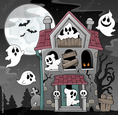 Poster Voor kinderen Haunted house with ghosts theme 4