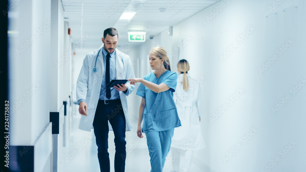 Fototapety, obrazy: Female Surgeon and Doctor Walk Through Hospital Hallway, They Consult Digital Tablet Computer while Talking about Patient's Health. Modern Bright Hospital with Professional Staff.