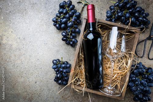 Fototapeta A bottle of red wine with grapes obraz na płótnie