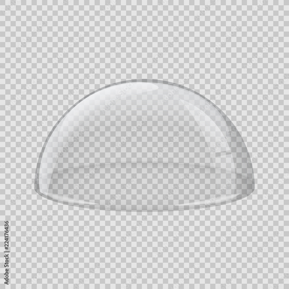 Fototapety, obrazy: Transparent glass cover. Vector hemisphere isolated on transparent background.