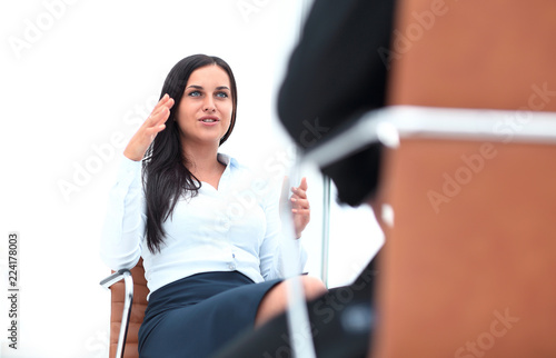 Severe female manager criticize her team member Canvas Print