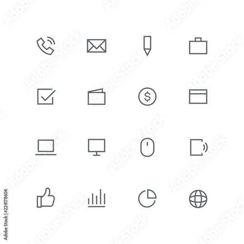 Astounding Main Outline Icon Set Phone Mail Pen Briefcase Check Mark Wiring 101 Ferenstreekradiomeanderfmnl