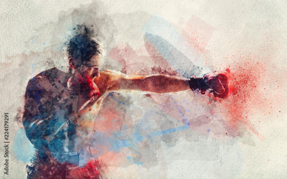 Fototapeta Watercolor painting of boxer striking a blow