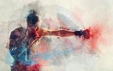 Akwarela malarstwo boksera uderzającego - 224179291