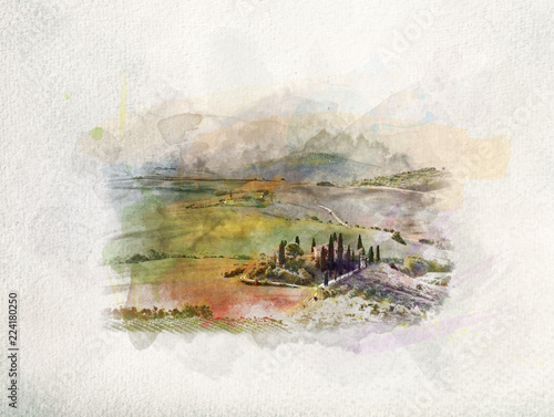 Photographie  Tuscany landscape at sunrise in watercolors.