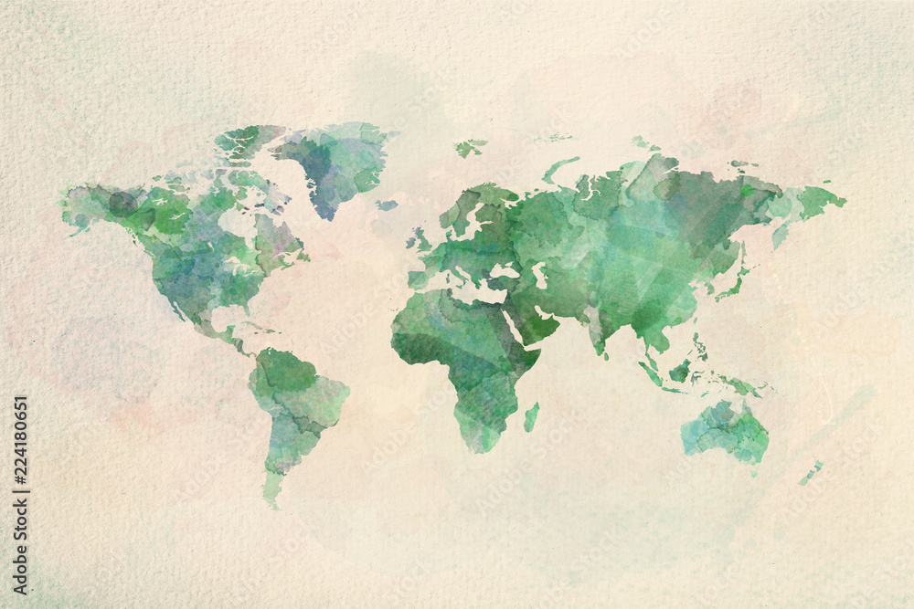 Fototapeta Watercolor vintage world map in green colors