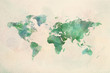 canvas print picture - Watercolor vintage world map in green colors