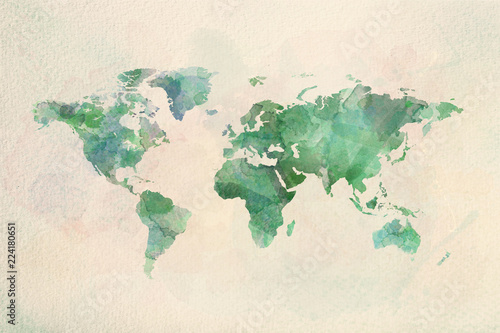 Watercolor vintage world map in green colors Wallpaper Mural