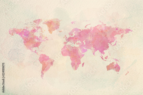 Canvas Print Watercolor vintage world map in pink colors
