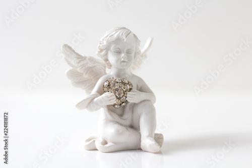 Obraz na płótnie Guardian angel over white background. Christmas decoration