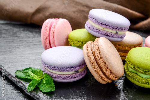 Photo Healthy food, stack of macarons, macaroons French cookie