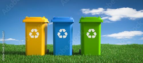 Fotografie, Obraz  3D Illustration Mülltonnen Recycling Mülltonnen