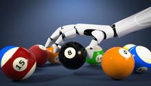 3D Illustration Roboterhand Billard