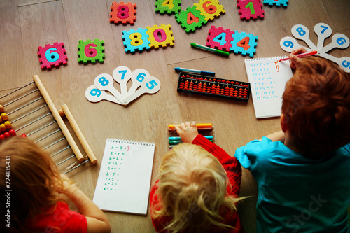 kids- boy and girls- learning numbers, abacus calculation Canvas Print
