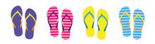 Set With Colorful Summer Flip Flops For Beach Holiday