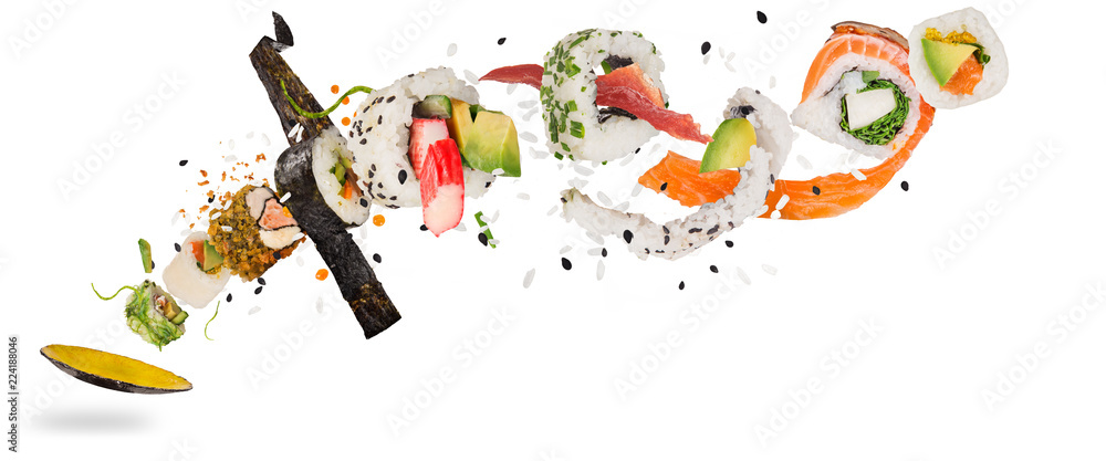 Fototapety, obrazy: Pieces of delicious japanese sushi frozen in the air.