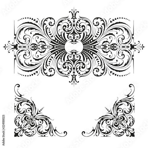 detailed classic Victorian style ornament / flourish and matching