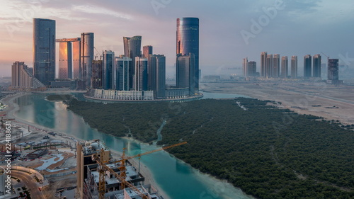 Foto auf Leinwand Abu Dhabi Buildings on Al Reem island in Abu Dhabi timelapse from above.