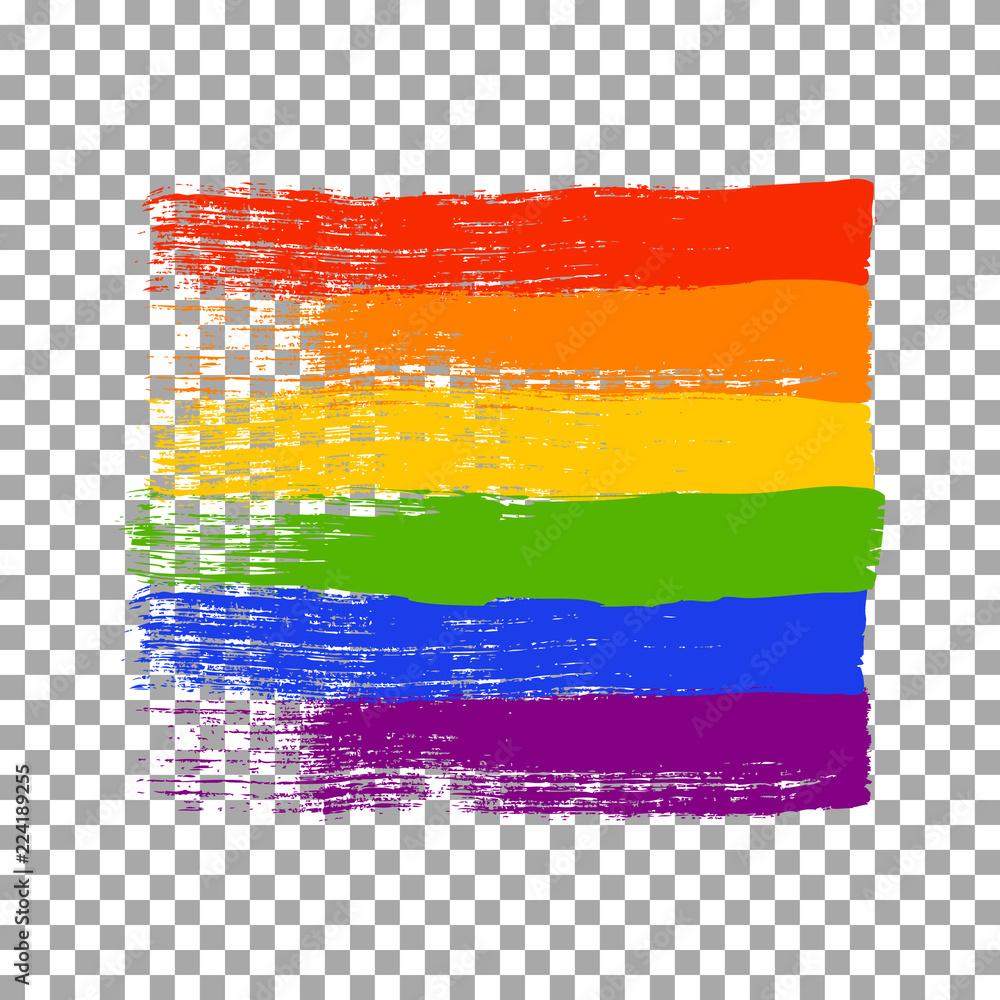 Fototapeta Brush strokes in LGBT flag colors isolated on transparent background. Vector illustration.