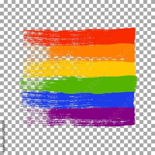 Obraz na plátně Brush strokes in LGBT flag colors isolated on transparent background