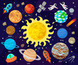 Vector illustration of space, universe. Cartoon planets, asteroids, comet, rockets.