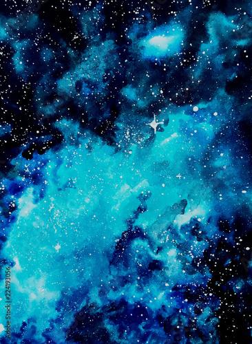 Fototapety, obrazy: galaxy watercolor blue illustration bright
