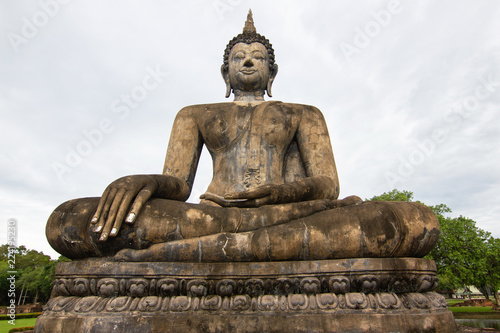 Buddha statues at Wat Mahathat ancient capital of Sukhothai, Thailand. Sukhothai Historical Park is the UNESCO world heritage