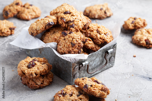 Oat cookies with cranberry and pecan Canvas Print