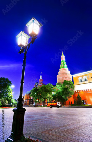 View of the Kremlin and Alexander Garden in Moscow at night.