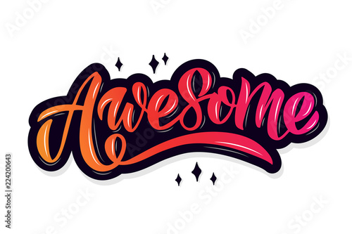 Awesome lettering typography Wallpaper Mural