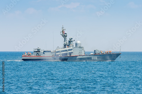 A warship in the sea. Russia, the Black Sea.  Small missile ship of the Russian navy on the high seas