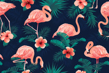 Beautiful Flamingo Bird Tropical Flowers Background. Seamless Pattern Vector.