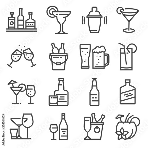 Vector line alcohol icons set on white background