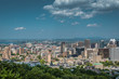 MONTREAL, QUEBEC / CANADA - JULY 15 2018: Montreal cityscape. View from the port..