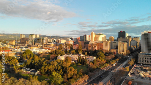 ADELAIDE, AUSTRALIA - SEPTEMBER 16, 2018: Aerial view of city skyline at sunset Canvas Print