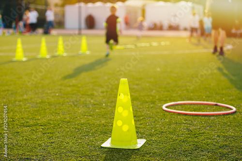 Fotografia  Football Soccer Training Equpment on Practice Session