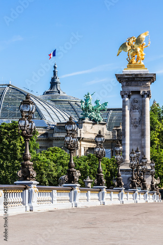 Pont Alexandre III Bridge (details) and Grand Palais. Paris, France Fototapete