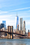 Fototapeta Nowy Jork - New York City skyscrapers and Brooklyn Bridge, USA