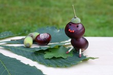 Figurine Made Of Chestnuts And Acorns