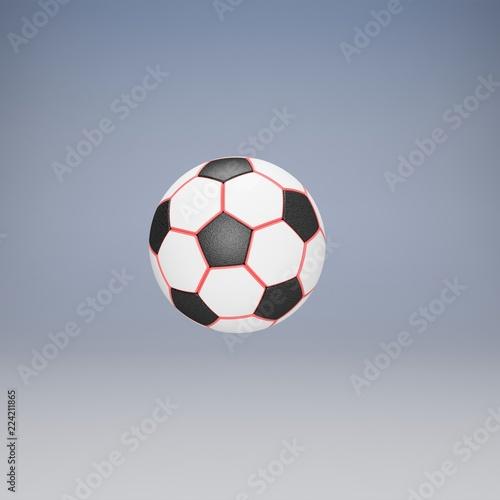 Klasyczny piłki nożnej. 3D Ilustracja. Białe tło
