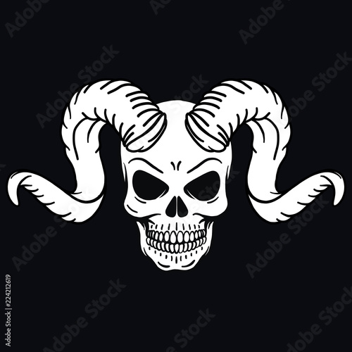 Hand Drawn Vector Outline Skull With Horns And Bones Pentagram