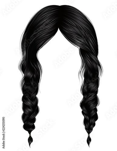 trendy women hairs brunette black colour Canvas Print