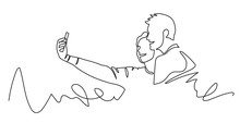 Continuous One Line Drawing Of Selfie Lover Couple. Vector Illustration Portrait Character Of Young Man And Woman, Holding Smartphone, Making Selfie Photo With Smile And Happiness.